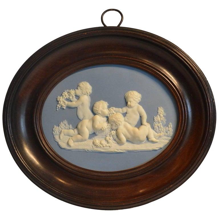 Framed Jasper Medallion, Bacchanalian Boys, Wedgwood & Bentley, circa 1778