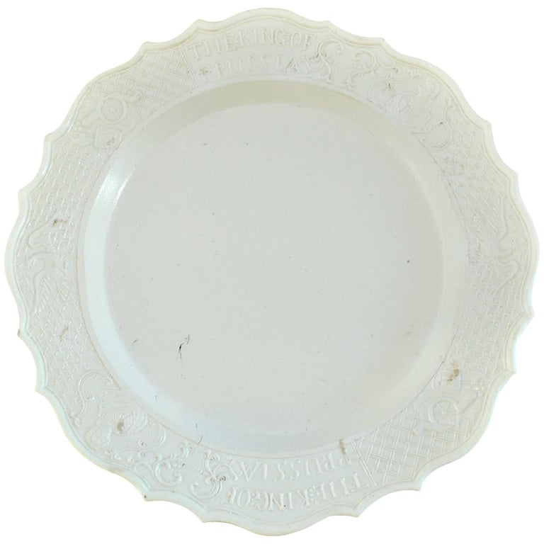 "Saltglaze ""King of Prussia"" Plate, English, circa 1756"