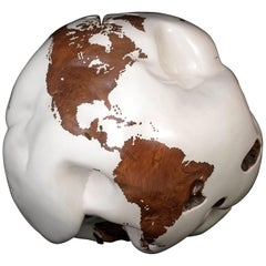 Sculpturized Wooden Globe in Acrylic White Resin Finishing, 65 cm