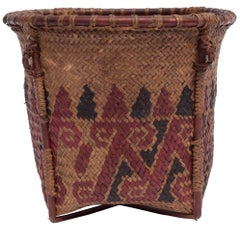 Small Vintage Collecting Basket with Colored Design, Borneo, Mid-20th Century