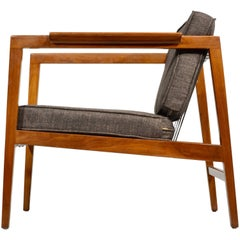 Rare Edward Wormley Walnut Open-Arm Lounge Chair