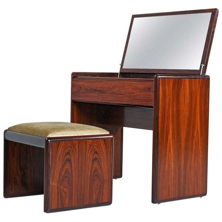 Remarkable Vintage Danish Modern Rosewood Flip Top Storage Vanity Desk Ncnpc Chair Design For Home Ncnpcorg