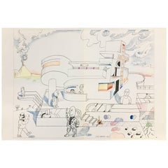 Saul Steinberg Lithograph 'Untitled', 1973