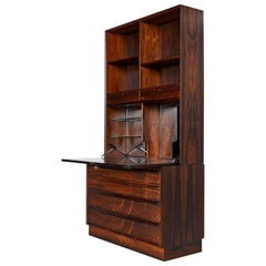 Two-Piece Danish Rosewood Hutch Bookcase Bar