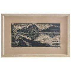 Framed Linocut Art Devin by Duracka, Czechoslovakia, circa 1960