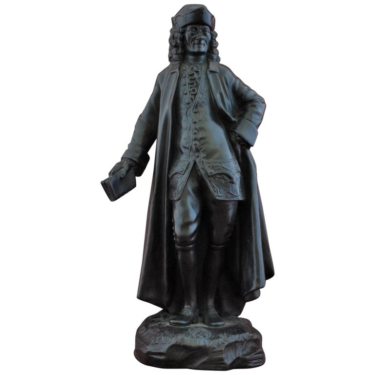 Basalt Figure, Voltaire. Wedgwood, circa 1820 For Sale