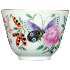 Tea Bowl Painted with Butterflies, Chinese, Dutch Decorated, circa 1740