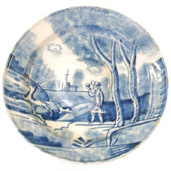 Delft Charger, Coursing a Stag, English, circa 1710
