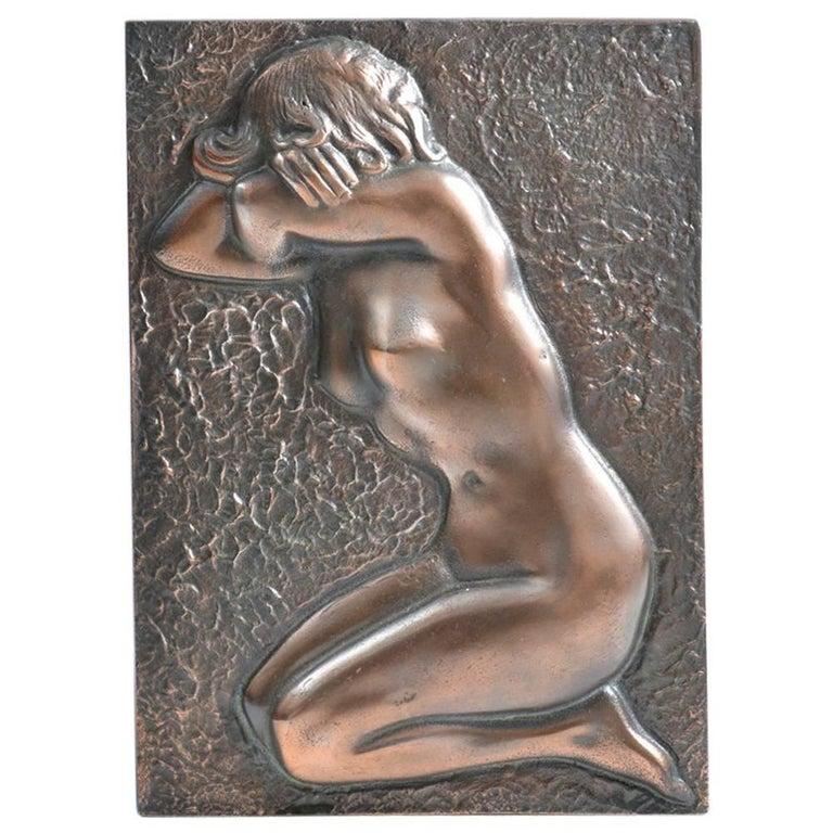 Brass Wall Sculpture Naked Woman, circa 1940