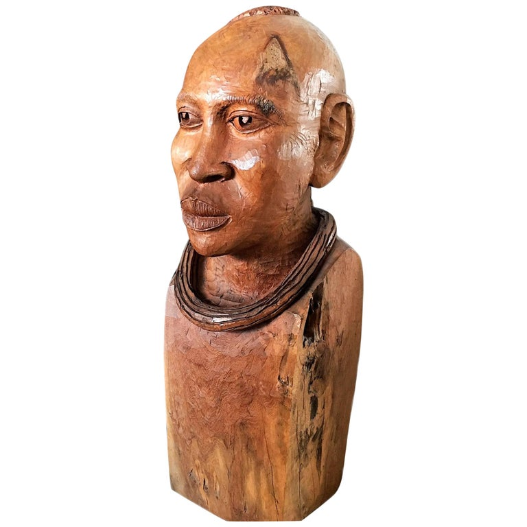 Magnificent Big Wooden African Tribal Chief Head Sculpture