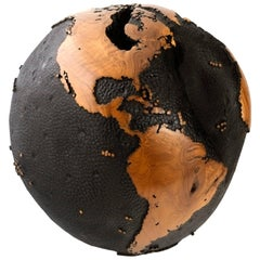 Superb Black, Wooden Globe with Iron Layer, Black Paint, Hammered Finish, 30 cm