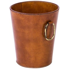1950s Waste Paper Basket in Leather by Carl Auböck