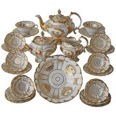 Richly Gold Decorated Old Paris Porcelain Tea Service, France, circa 1880s