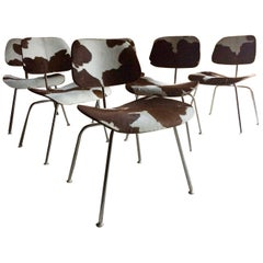 Charles and Ray Eames DCM Chairs Dining Six Calf Skin Herman Miller1960s