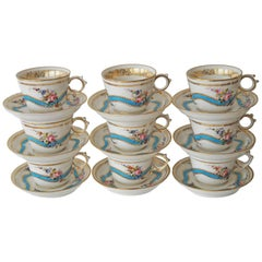 Nine Old Paris Porcelain Sevres Style Teacups and Saucers, France, circa 1880