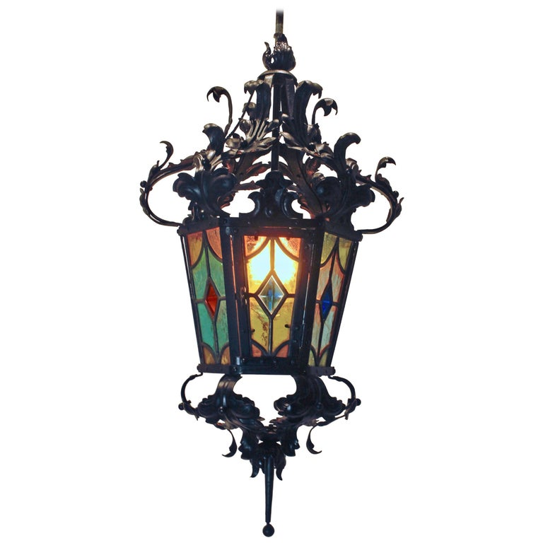 Iron Lantern French, Napoleon III Black with Stained Glass Panels, circa 1874