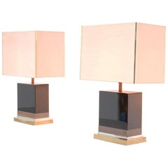 Pair of Black Lacquered Lamps by Jean-Claude Mahey
