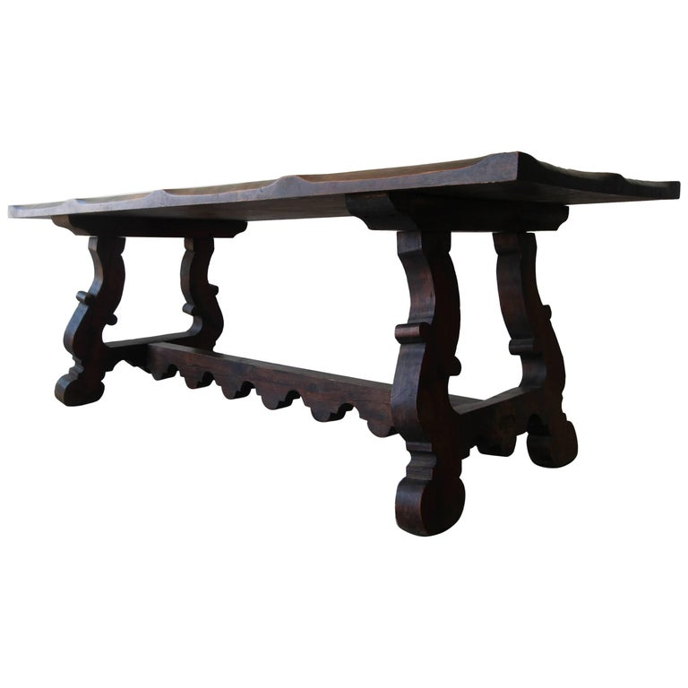 Antique Spanish Industrial Farm Style Trestle Dining Table