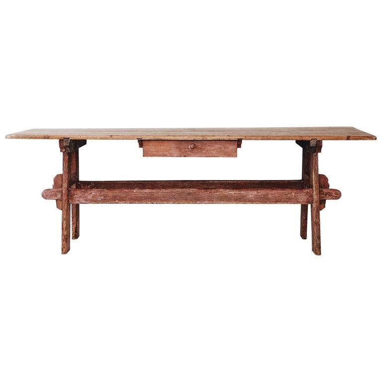 19th Century Swedish Folk Art Trestle Table