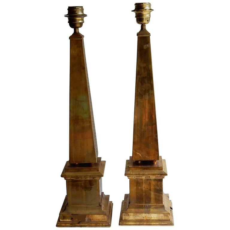 1970 Pair of Obelisks Lamps in Brass in the Style of Maison Jansen