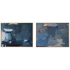 Set of Large Midcentury Abstract Paintings Signed Antonio Angulo, 1979