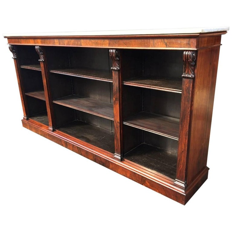 Bookcase in Rosewood, Library Open Bookcase. English, circa 1850