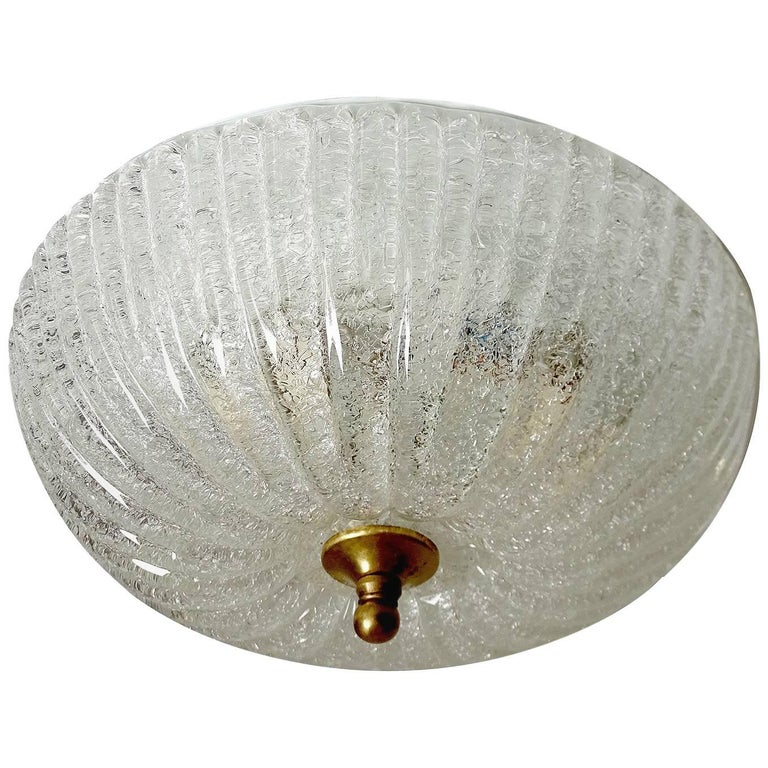 Barovier e Toso Style Glass Flush Mount Light