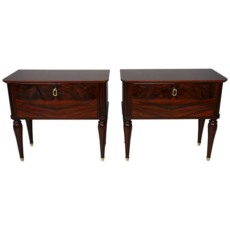 Pair of Glossy Wooden and Brass Bedsides Table