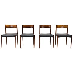 Rosewood and Black Leather Lübke Dining Chairs, Set of Four, 1960s