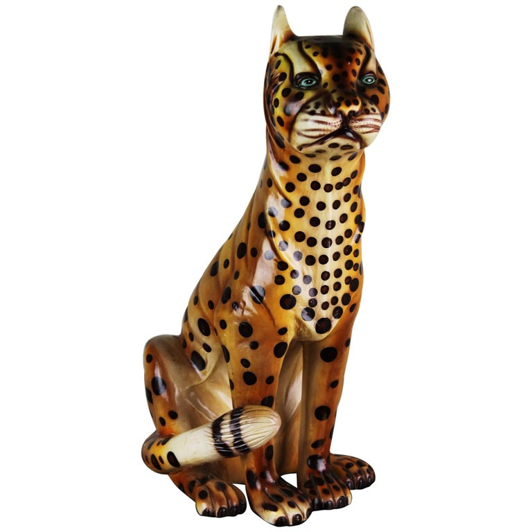 Mid-20th Century Hand-Painted Cheetah Ceramic Sculpture For Sale