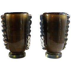 Late 20th Century Pair of Dark Brown and Gold Murano Glass Vases by Costantini