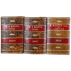 Collection of Three Leather Bound False Books