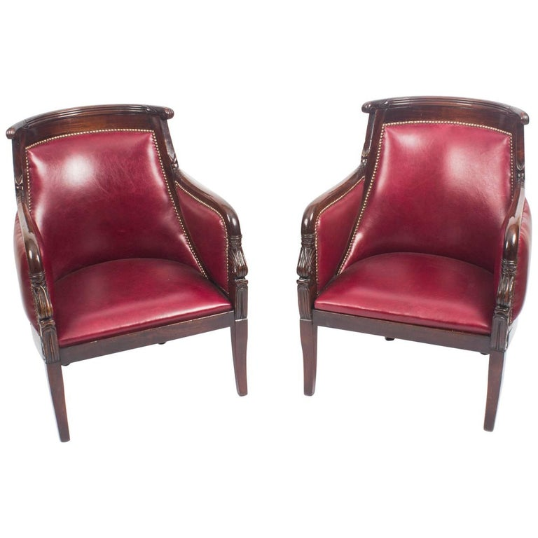 Antique Pair of Louis XV Revival Mahogany Fauteuil Armchairs, 19th Century