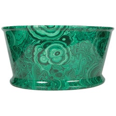 Modern Malachite Decorated Porcelain Planter with Green and Black Coloring