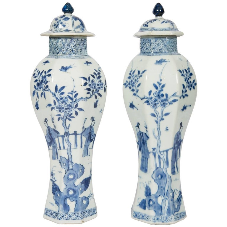 Chinese Blue and White Vases with Elegant Ladies