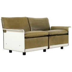 Dieter Rams, Sofa RZ 62 in Olivgreen Leather by Vitsœ, Two-Seat