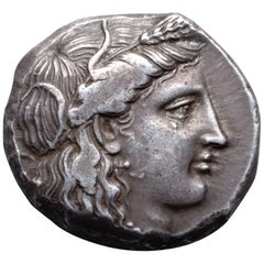 Ancient Greek Silver Didrachm Coin from Metapontum, 400 BC