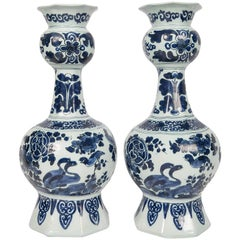 Antique Blue and White Delft Vases with Chinoiserie Decoration