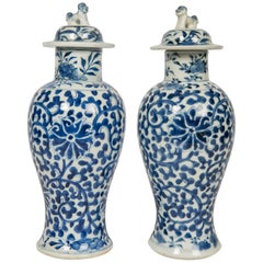 Blue and White Chinese Porcelain Vases Pair