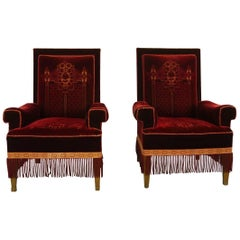 Pair of Art Nouveau / Wilhelmian Period Antique Highback Armchairs in Red Velvet