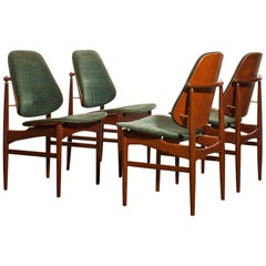 Set of Four Dining Chairs Designed by Arne Vodder for France &  Daverkosen