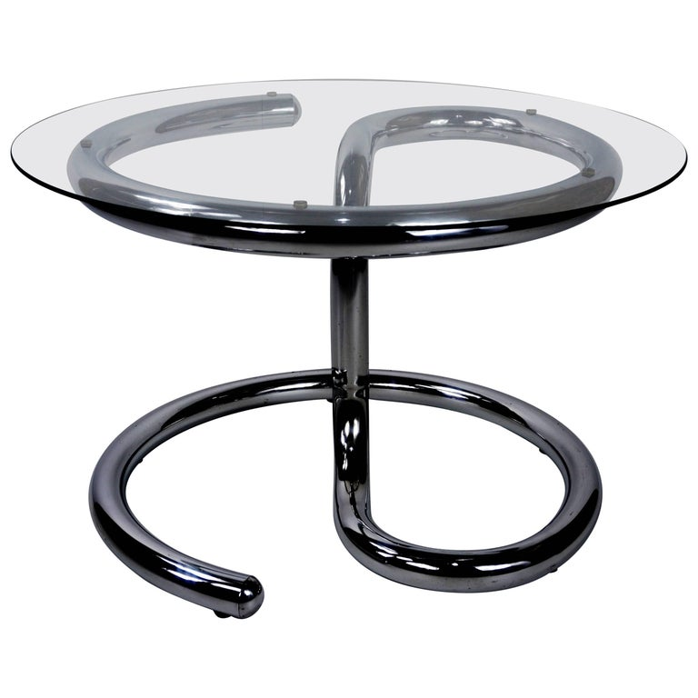 Chrome and Glass Coffee Table Anaconda Design by Paul Tuttle for Strässle