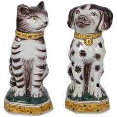 Pair of Delft Dog and Cat