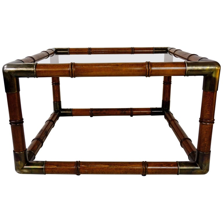 Wooden and Smoked Glass Design Coffee Table