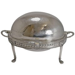 Antique English Silver Plated Revolving Breakfast Dish, Dated April 5th, 1880