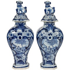 Blue and White Delft Mantle Vases
