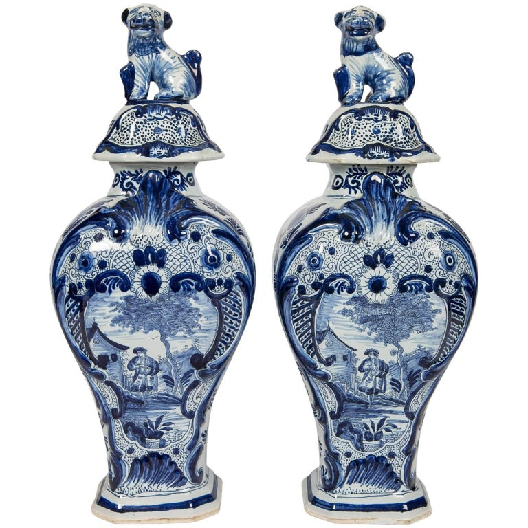 Blue And White Delft Mantle Vases Antique Dutch In Stock For Sale At