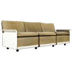 Dieter Rams Sofa and Stool RZ 62 in Olivgreen Leather by Vitsœ, Three-Seat