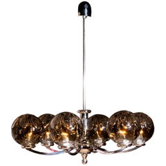 Kaiser Leuchten Chromed Chandelier with six Mouth-Blown Crystal Mazzenga Globes