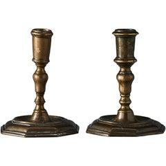Two Swedish Baroque Brass Candlesticks, 18th Century